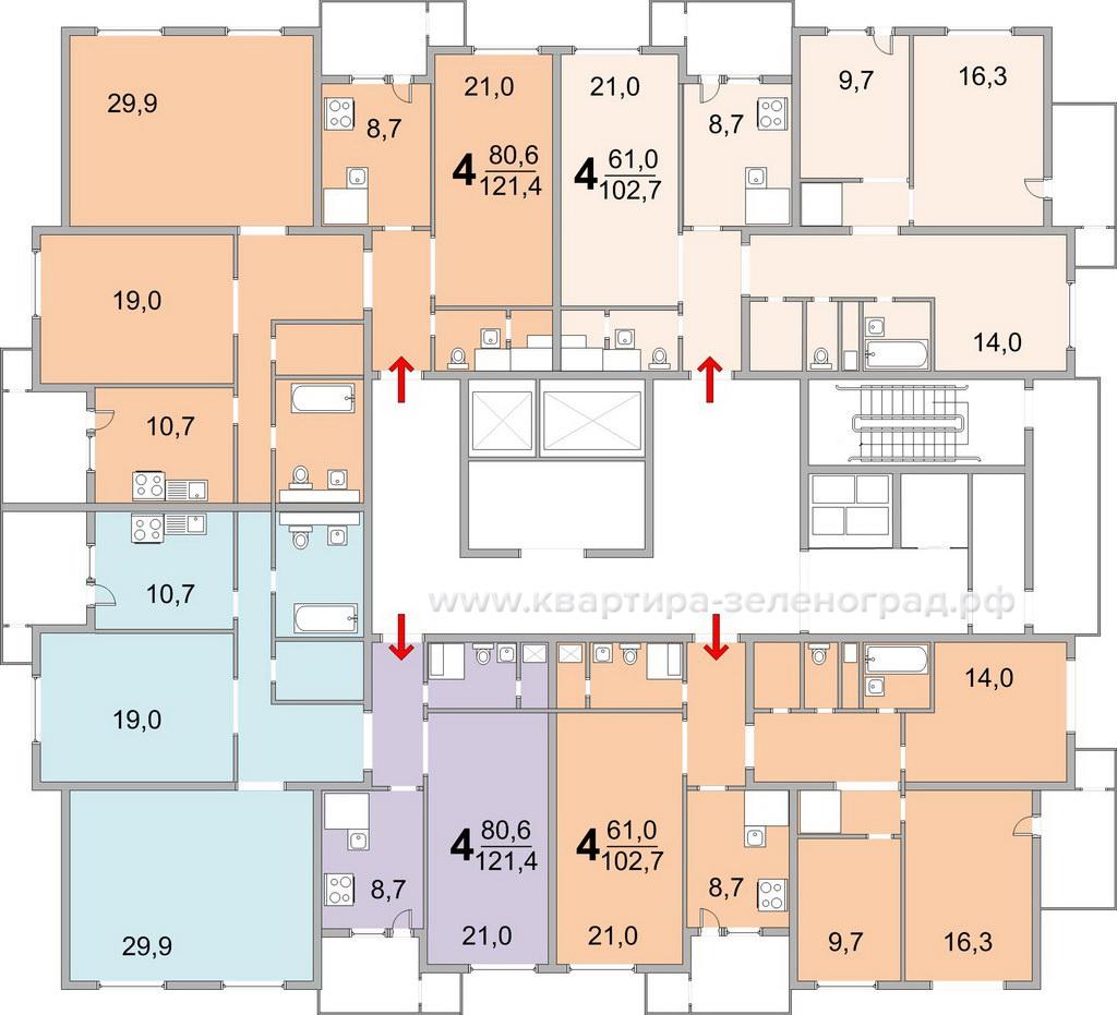 Планировки квартир, 23 мкрн Зеленограда, башня, 17 этаж