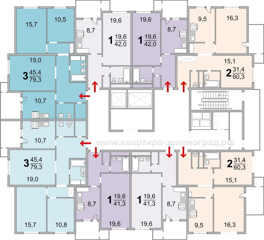 Планировки квартир дома серии ИП монолит башня 23 мкрн Зеленограда