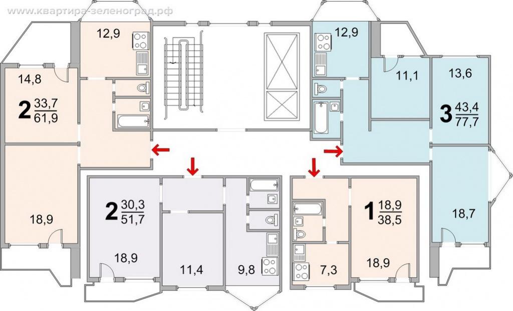 серия дома П-44Т, планировки П-44Т, план П-44Т, экспликация П-44Т, поэтажный план П-44Т, схема П-44Т