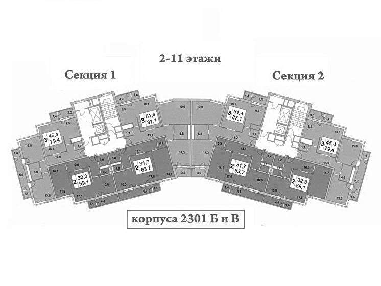 Планировки квартир дома серии монолит 23 мкрн Зеленограда 2301 Б и В
