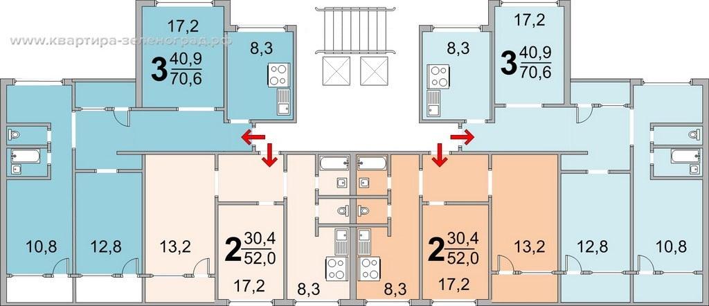 Поэтажный план дома серии П-55